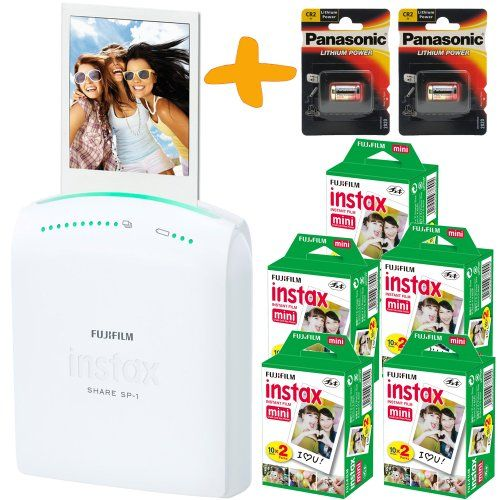 Bundle: Fuji Instax SHARE SP-1 Smartphone WiFi Portable Instant Photo Printer + 100 Instax Mini Prints + Spare CR2 Batteries ( Wireless Printer For iPhone iPad and Android, Print instant credit card sized photos from your phone or tablet wirelessly, personalise your prints with templates and styles ) Allcam,http://www.amazon.co.uk/dp/B00KB05S8I/ref=cm_sw_r_pi_dp_HSqDtb1CNKK23YMP