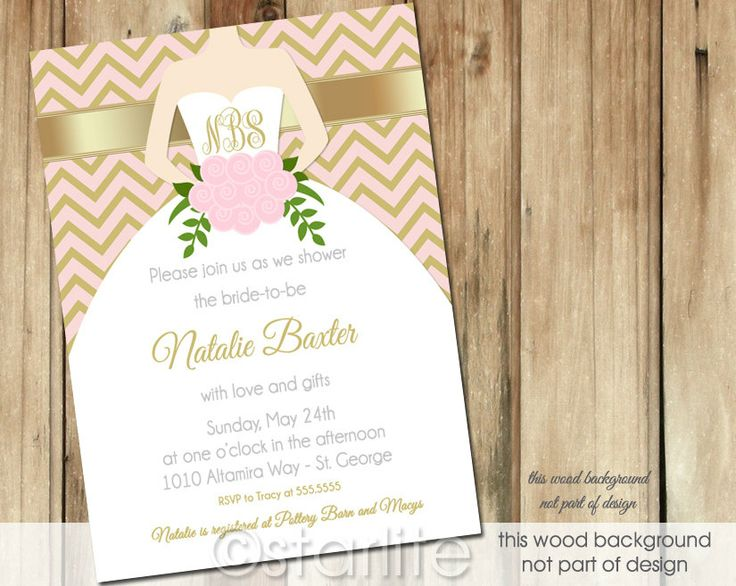 Chevron with gold bridal shower invite