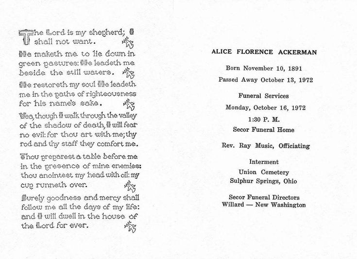 Funeral Service Program For Alice Florence (Clady) Ackerman. Https://www  Burial Ceremony Program
