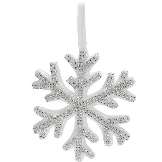 Witte sneeuwvlok met steentjes 25 cm  Deze witte sneeuwvlok hangdecoratie is gemaakt van piepschuim en is bedekt met glitters. Aan de voorkant is de sneeuwvlok bedekt zilveren steentjes. Afmeting: 25 cm.  EUR 6.99  Meer informatie