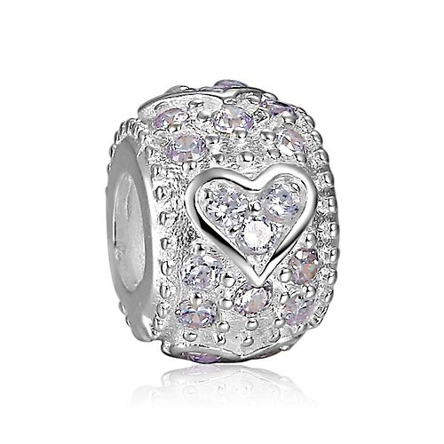 White Crystal Heart Charm 925 Sterling Silver Pandora