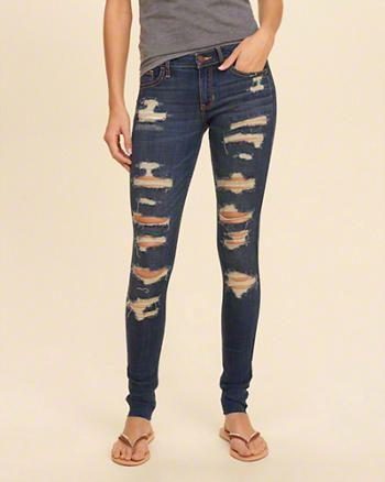 Hollister Shredded Low-Rise Super Skinny Jeans