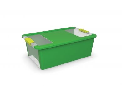 Bi Box Green 26L Stackable & nestable Bright, vibrant & playful Perfect for organising kids toys Transparent window for easy identification of contents Hinged lid Available from Howards Storage World.