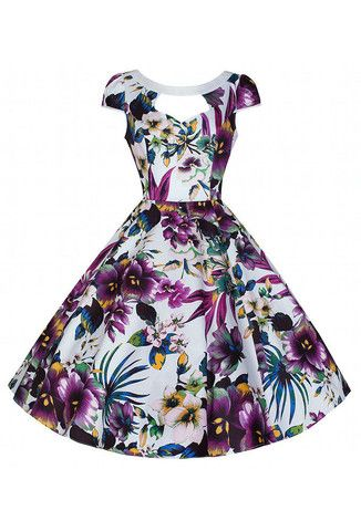 Hearts & Roses Purple Floral Cut Out Swing Dress