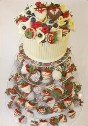 Dipped Strawberry Wedding Tower - alternative to a wedding cake