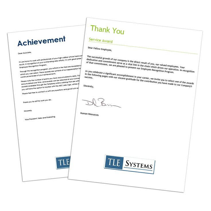 Employee Recognition Letter Samples  Terryberry