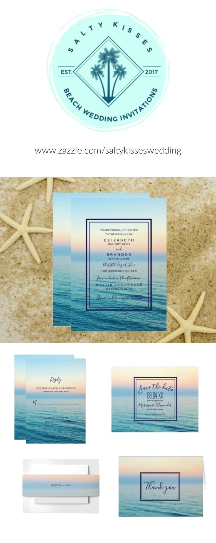 Sunset Skies Beach Wedding Invitation Paper Products For Your Celebration 50