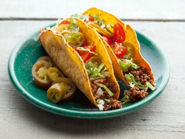 "Get All American Beef Taco Recipe from Food Network. Notes: for taco ""potion"": half the salt if using table salt, half the chili powder, and Start with 1 Tblsp potion per pound."
