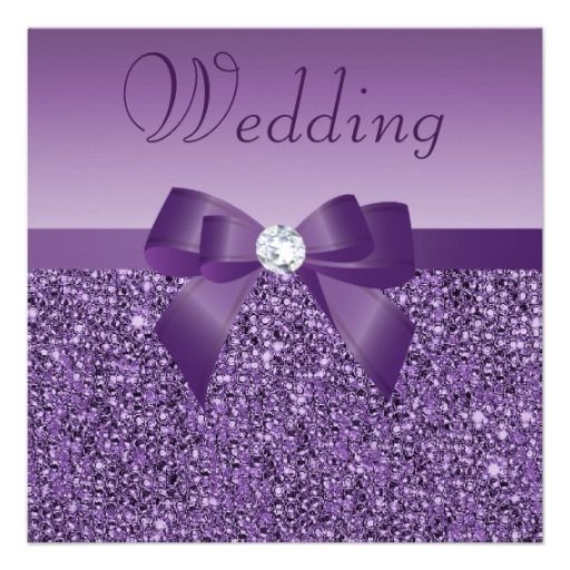 73 best bling wedding images on pinterest Zazzle Bling Wedding Invitations purple printed sequins bow & diamond wedding card zazzle bling wedding invitations