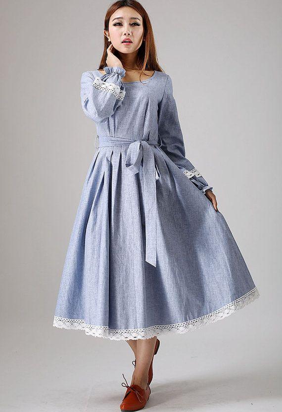 romantic dress,blue maxi dress, Linen dress, Long sleeve dress, long dress, white lace dress, Mod dress, Fit and flare dress, belt dress 882