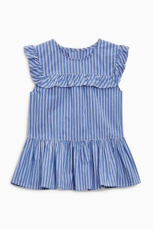 Comprar Blusa con sobrefalda en blanco y azul (3 meses-6 años) de Next España