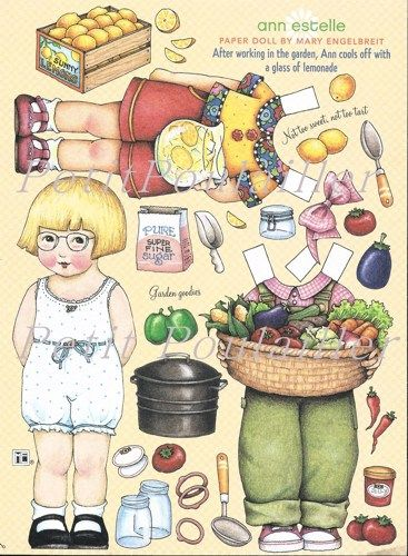 Mary Engelbreit Home Companion Play Time Original Paper Doll Sheet, Ann Estelle the Gardener ... in my shop now!