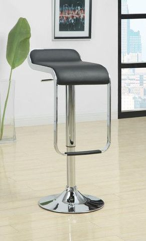 "Rolien Bar Stool  Features:  Black Faux Leather Chrome Adjustable Base Low Modern Back 15"" x 16.5"" x 25"""