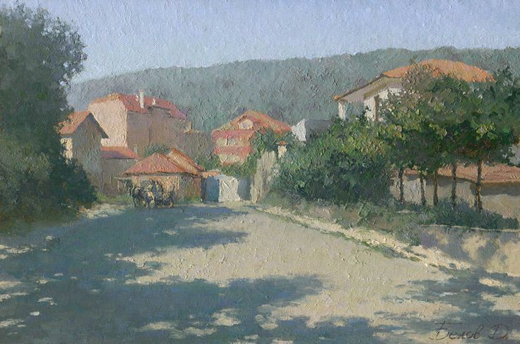 """Street in Obzor"", Bulgaria - landscape oil painting by @Daniil Belov. Read the story of this painting on my site www.daniil-belov.com"