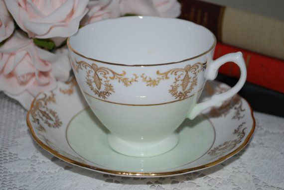 Royal Vale Bone China Tea Cup And Saucer Mint Green With