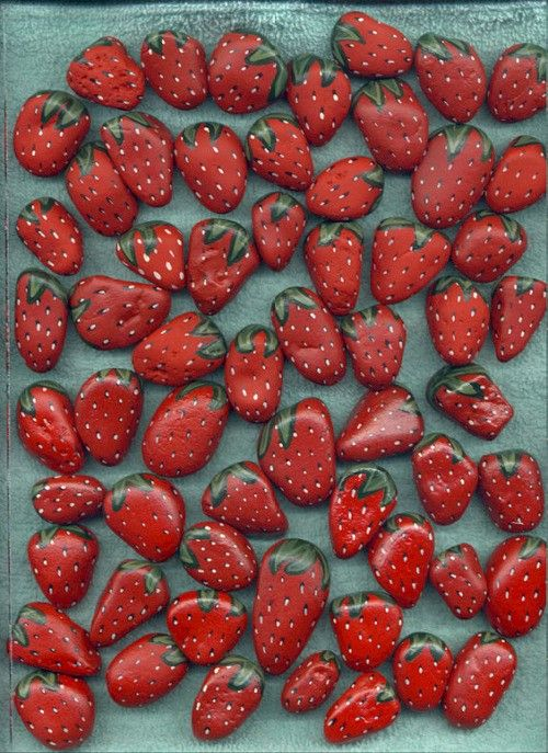Stones painted as strawberries when put around strawberry plants in the spring will keep birds from eating your berries when they ripen because the birds will think the ripened berries are stones