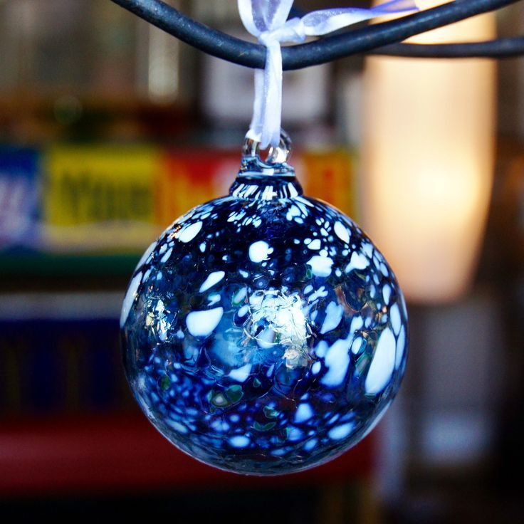 Hand Blown Glass Ornaments Cobalt Blue Snowstorm Hand Blown Glass Art Blown Glass Art Hand Blown Glass