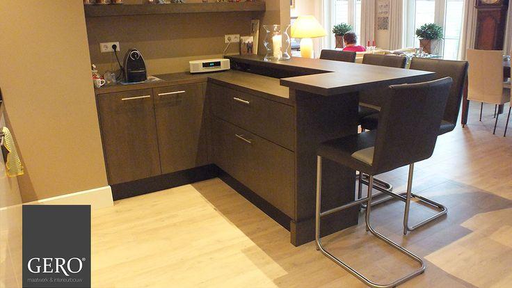 GERO Maatwerk & Interieurbouw - Een keukenbar gerealiseerd bij een bestaande keuken, waardoor de keuken meer een leef keuken word. www.gero-interieurs.nl