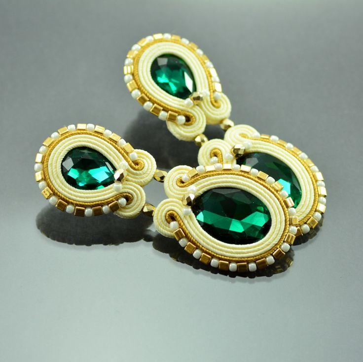 Long Unique Clip-On Earrings - Soutache Earrings - Long Beige Soutache Earrings, Long Emerald Earrings - Unique Green Gold Soutache Earrings by OzdobyZiemi on Etsy