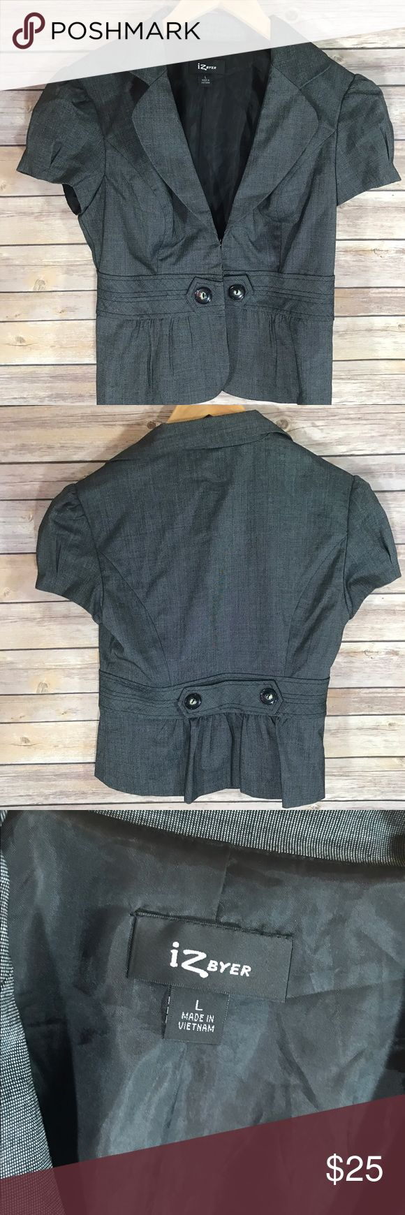 Gray Dress Jacket Gray IZ Byer dress up vest for suit or similar. Size large. Clasps shut, buttons for looks. Purchased from Kohls. Goes great with dress slacks for work, church, weddings, etc. Iz Byer Jackets & Coats Blazers