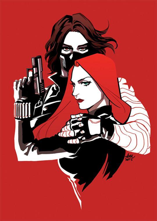 Black Widow and the Winter Soldier by http://temariart.tumblr.com/post/119361436195/winterwidow-with-wip #winterwidow #bucktasha