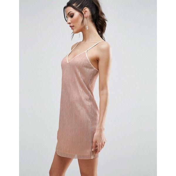 ASOS - Camisole-Kleid aus Lurex-Plissee - Rosa