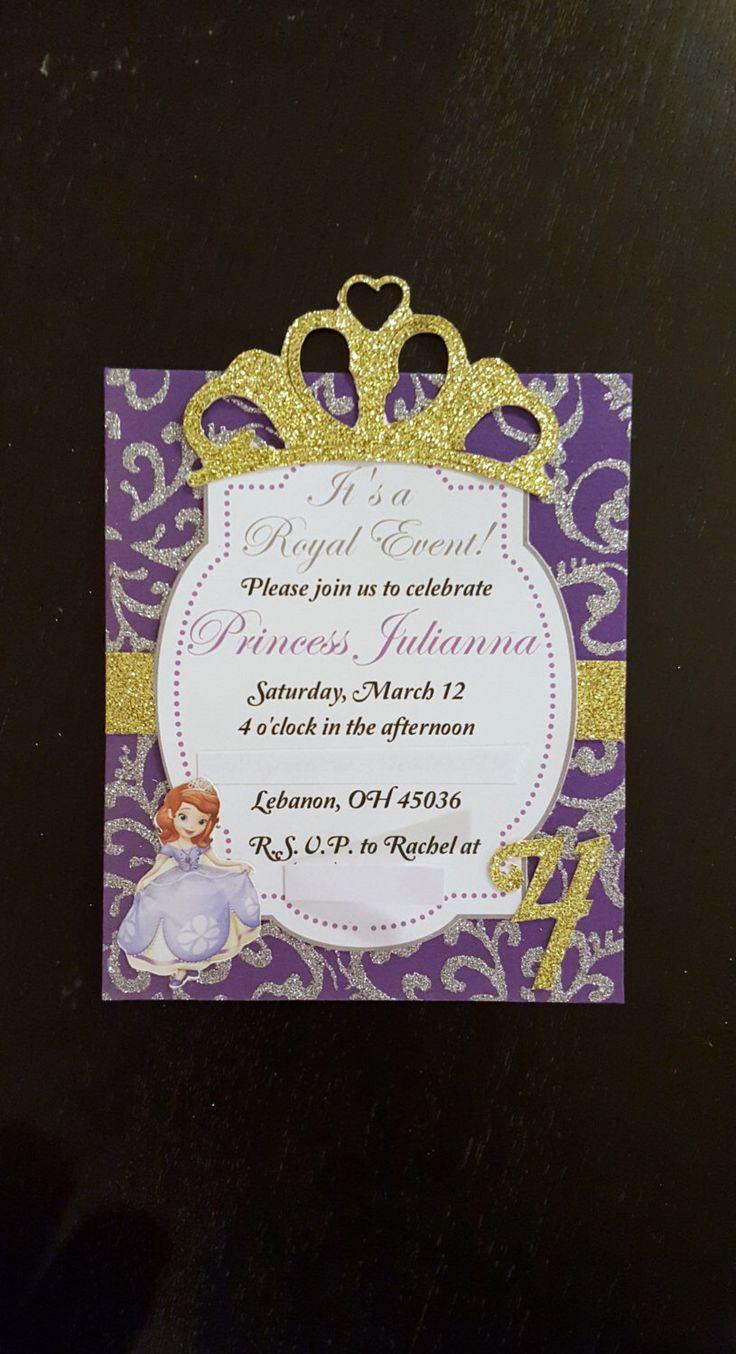 Sofia Inspired Invitations (8), Princess Sofia Invitations, Princess Invitations, Sofia the First Invitations, by HeavenlyHandKrafted on Etsy https://www.etsy.com/listing/268916258/sofia-inspired-invitations-8-princess