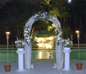 24 best images about pool weddings on pinterest beach for Garden pool wedding