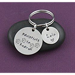 Pawprints in Heaven Keychain - DII - Pet Memorial - Pet Loss Gift - Handstamped Handmade - 1, 5/8 Inch 25.4, 15MM Disc - Customize Name - Any Phrase or Quote - Fast 1 Day Shipping