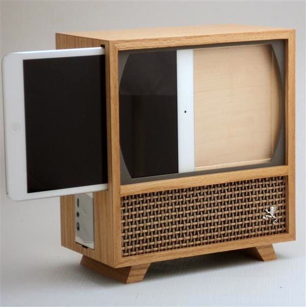 What you really nead is an iPad mini stand that looks like an old TV