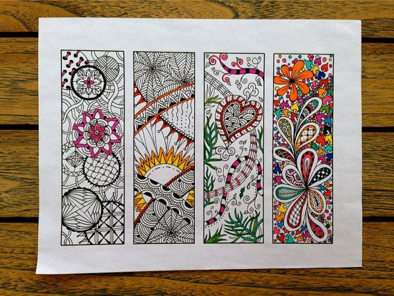Digital Bookmarks - Adult Coloring Page - Zentangle Inspired - Bookmark Number 1, Zentangle Bookmark
