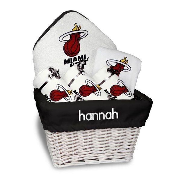 9 best montreal canadiens baby gifts images on pinterest our personalized miami heat medium gift basket is a perfect basketball baby gift with 3 burp cloths a bib and a hooded towel set personalized with babys negle Images