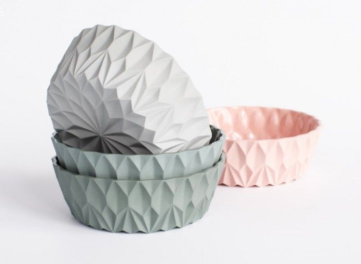 Soft Touch: Pastel Pottery by Lenneke Wispelwey | geometric bowls