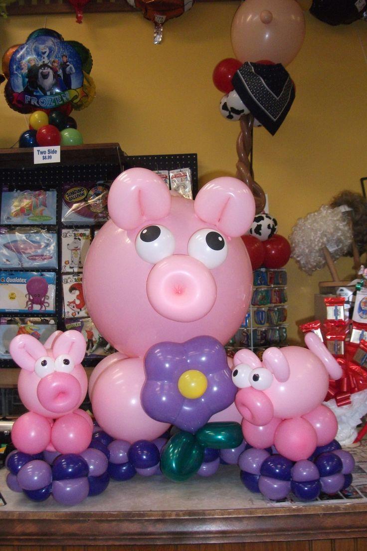 Here Piggy Piggy Piggy. Balloon Pigs designed by Balloons by Night Moods in Juneau, AK www.juneausbestballoons.com