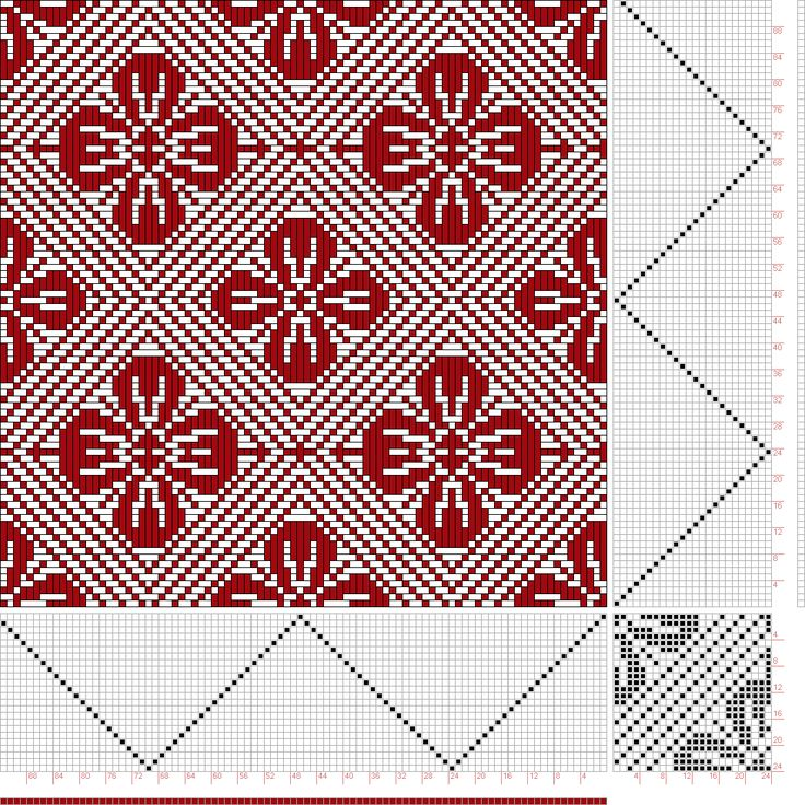 draft image: Threading Draft from Divisional Profile, Tieup: Donat, Franz Large Book of Textile Patterns, Draft #27801, 24S, 24T