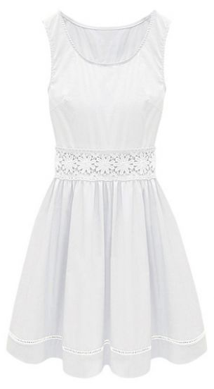 White Sleeveless Crochet Lace Embellished Waist Skater Dress pictures