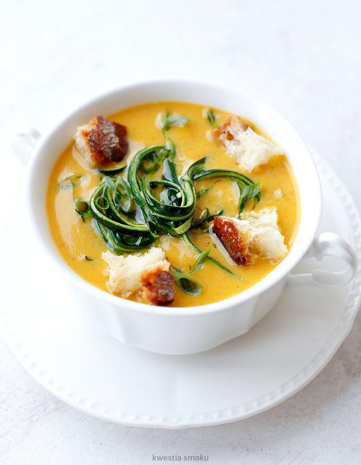 Pumpkin-Zucchini Soup w/ Zucchini Noodles & Rustic Bread Croutons