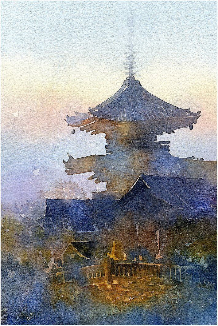 Gorgeous Fragmented Watercolors Form Soothing Cityscapes Amazing