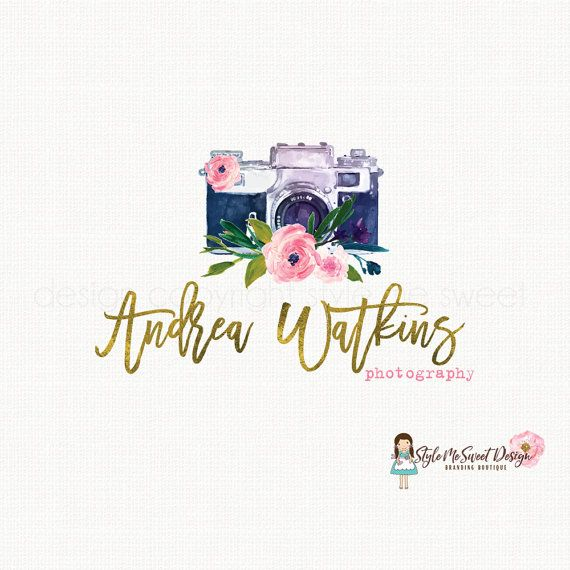 camera logo design watercolor logo design by stylemesweetdesign