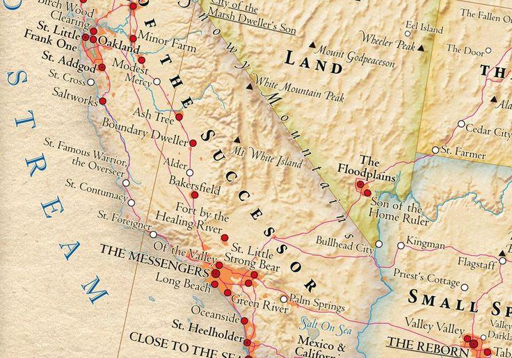 Atlas of true names map frame for family room United