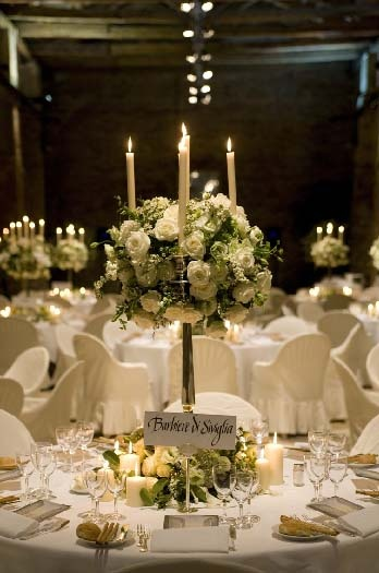 White And Green Candelabra Arrangement But Looser Style And Chunky Candles