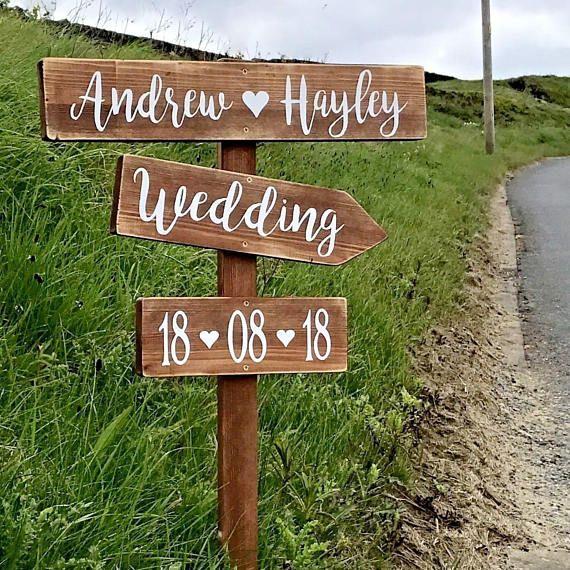 Large Wedding Signpost Personalised Rustic Wooden Wedding This Etsy Wedding Directions Wedding Venue Decorations Wooden Wedding Signs