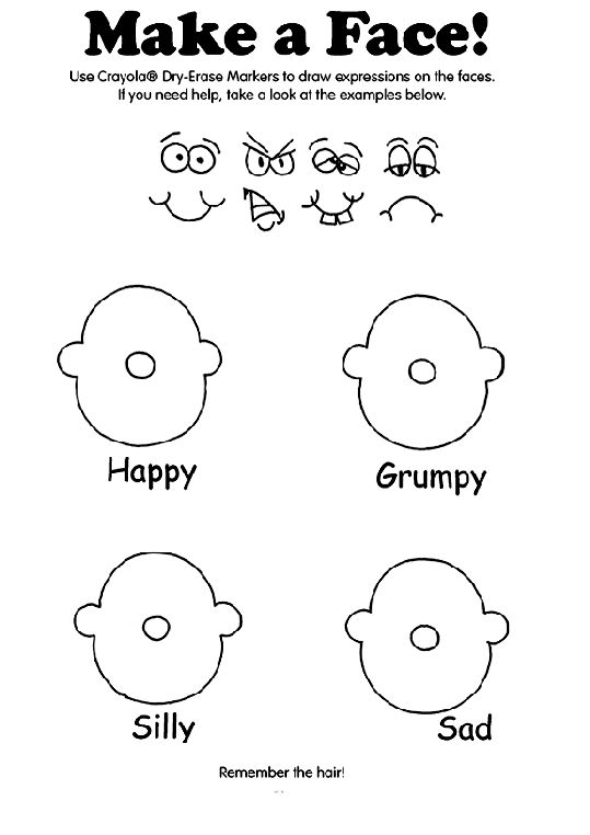 Make a Face! coloring page Mood/Emotions Pinterest