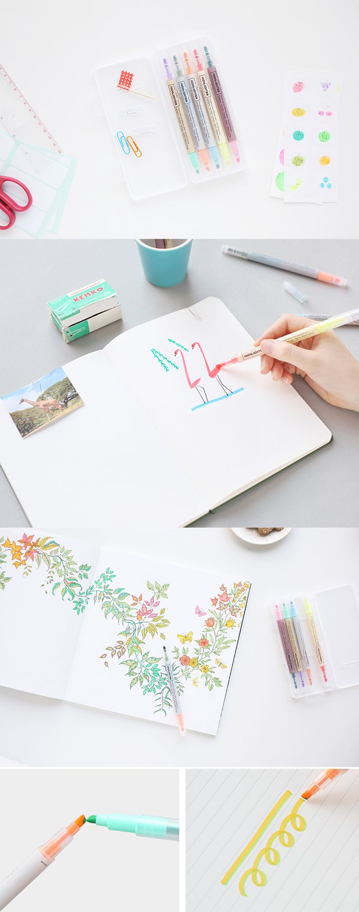 5 pens, 10 colors. Color your life with the Twin Highlighter Pen Set!