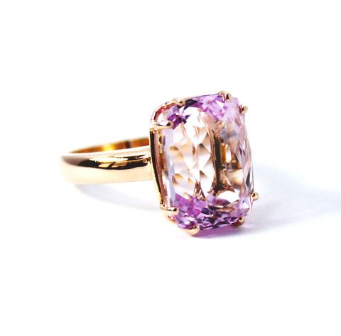 Kunzite rectangle cushion cut rose gold ring, size 7 - Ready to ship or Resize CLICK HERE