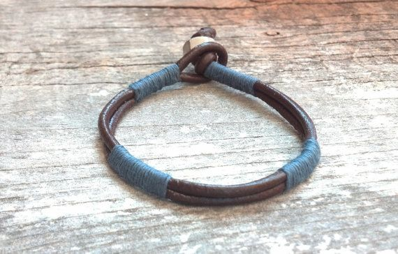 Mens Gray and Brown Stacked Leather Wrap Bracelet by urbanlanding, $14.00 #jewelryforguysmen #mensgifts