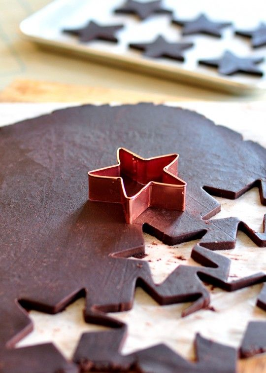 """Sweetapolita — The Perfect Dark Chocolate Sugar Cookie. These are amazing"""". I halved recipe as it would make tonnes. Held shape. Roll with parchment to keep darker."""