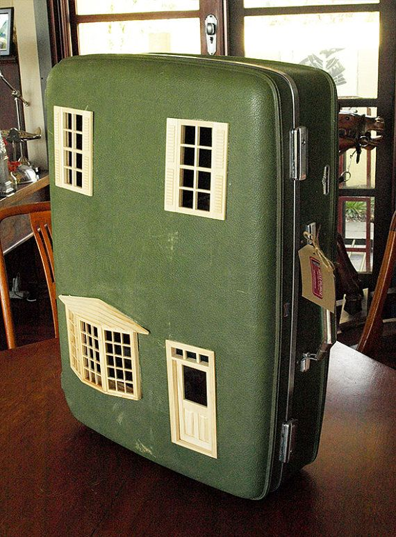 Suitcase Dollhouse: Vintage Suitcase Upcycled into Green Dollhouse on Etsy, $434.87