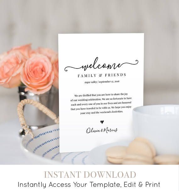 This listing is an INSTANT DOWNLOAD that includes a high resolution, printable Welcome Bag Letter & Itinerary. Access your template within minutes of purchase in TEMPLETT - A fully customizable template editor that allows you to personalize your printable directly in your web browser. No software to install or fonts to download. ----------------- FREE DEMO ----------------- TRY IT BEFORE YOU BUY IT Copy and paste this url into your web browser: http://templett.com/design&#...