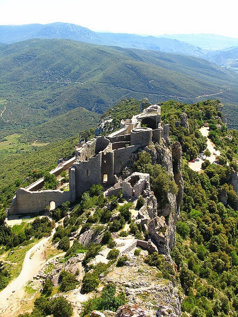 Peyrepertuse, view to the Chateau Bas by claudia@flickr, via Flickr France